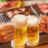 生ビール付き飲み放題!!黒ビールも楽しめる!!