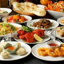 アジアン料理がズラリと並ぶコース