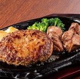 <牛100%>フォルクスハンバーグ&カットステーキ(サラダバー付)