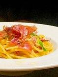 ハモンセラーノと水菜のペペロンチーノ