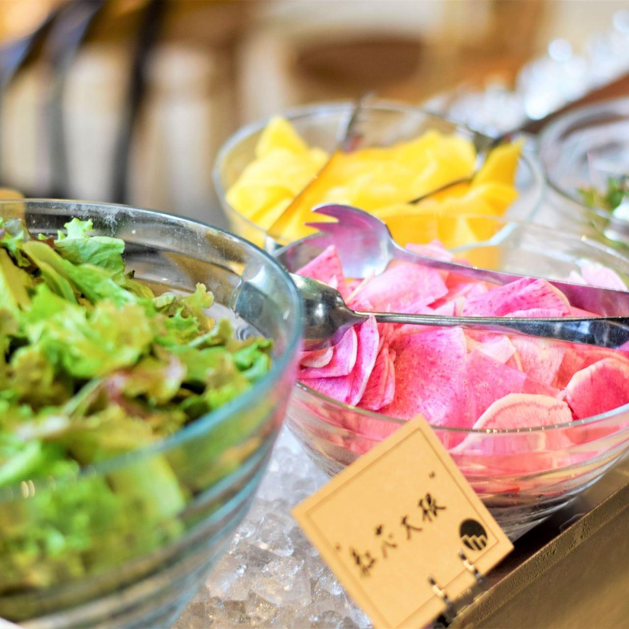 各地から届く新鮮な野菜をサラダや前菜でどうぞ!!