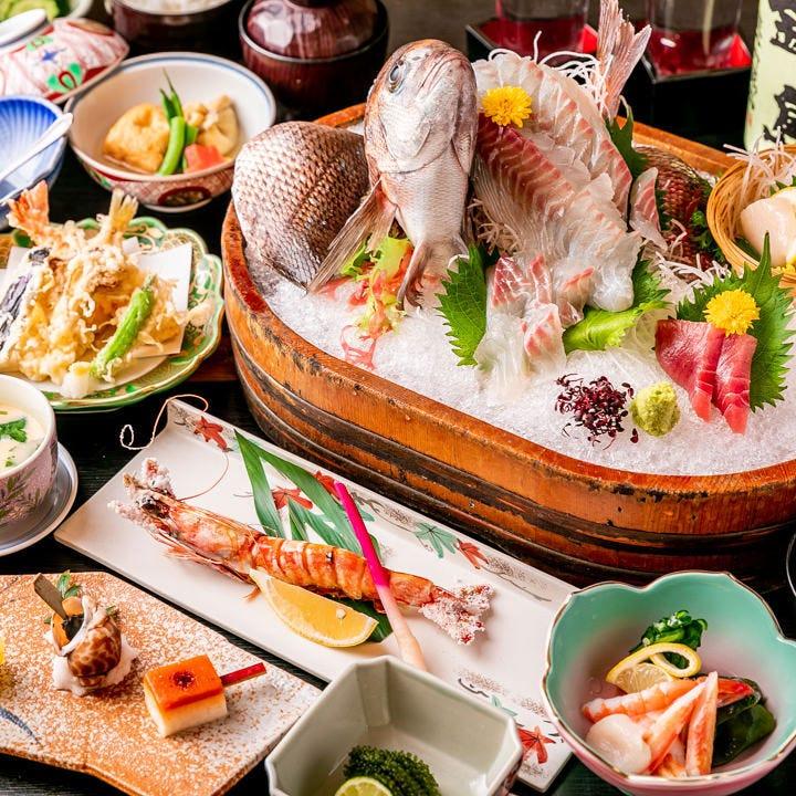 新鮮な鯛の活造りはコースでも!ご予算や内容でお選びください