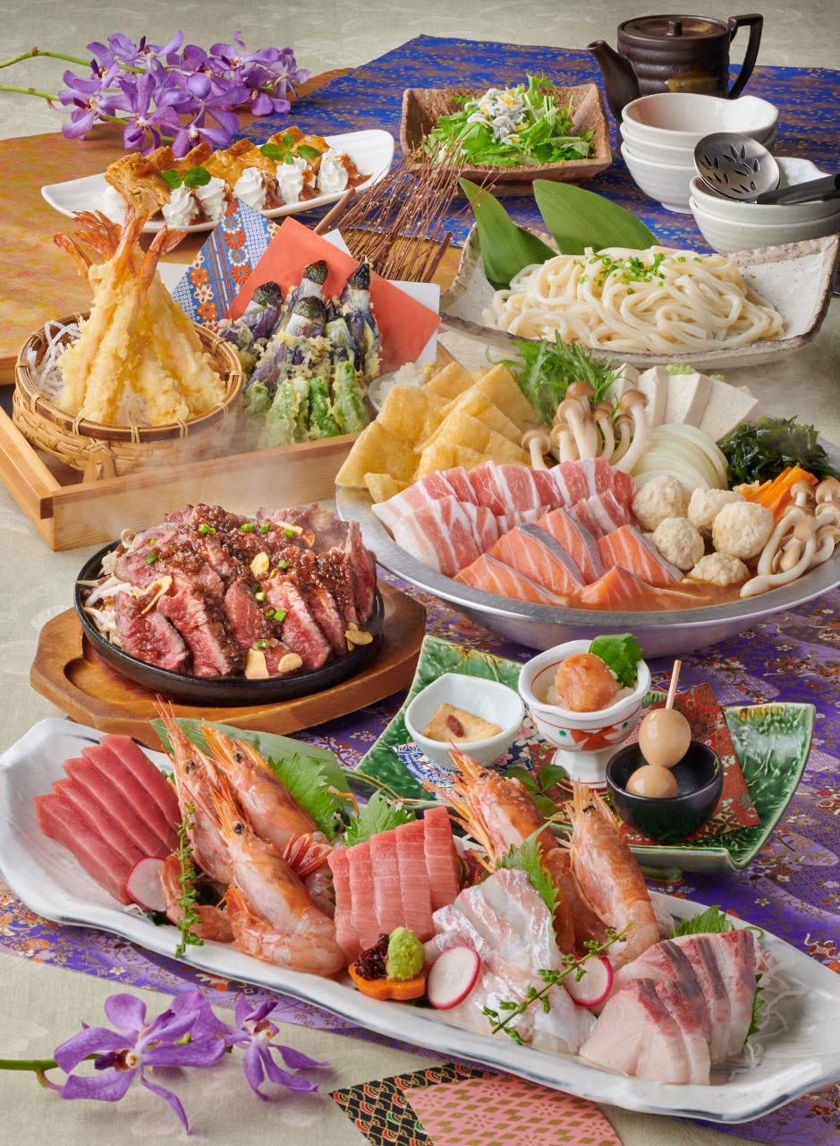 ■鯛の姿造り&本鮪中トロ付!春の宵コース~harunoyoi~ 2時間飲み放題付6,500円⇒5,000円(税込)全9品■
