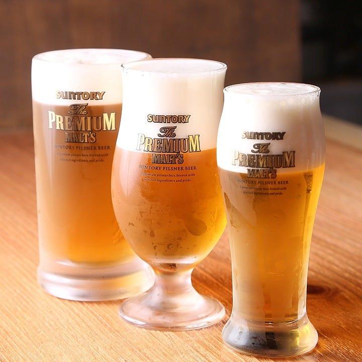 ビールはジョッキ・グラス・瓶にノンアルコールもございます
