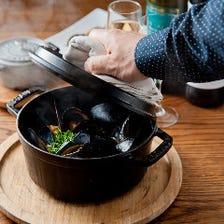 ◎ベルギーの代表的料理!!ムール貝の白ワイン蒸し ビアンコ