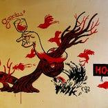 ◆お洒落な店内◆ いたるところに「お洒落」がちりばめられている店内が自慢◎壁に描かれたアートをバックに記念撮影もおすすめ★季節によって変わる黒板アートも見所です。スペインの豆知識などを書いているので是非ご覧下さい♪