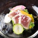 3】キハダマグロ 炙りのカルパッチョ