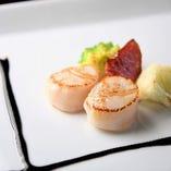 4】北海道産帆立貝のソテーと彩りの温野菜