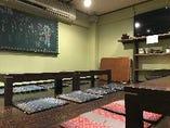 ミニ宴会も広々空間、換気充分のお座敷で!