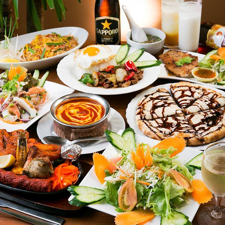 【3時間飲み放題付】タイ料理もインド料理もどちらも味わえる欲張り『タイ&インドコース』〈全11品〉