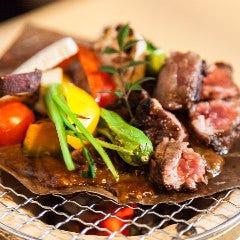 牛サイコロステーキの朴葉七輪焼き