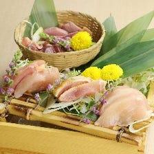 鶏の造りと低温調理の4種盛り