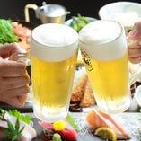 ビールもOK◎飲み放題付きコースをご用意しています。