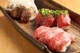 馬肉の特上にぎり寿司