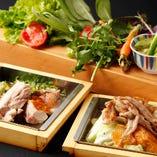 比内地鶏の鉄板焼を季節の新鮮巻き野菜といっしょに♪