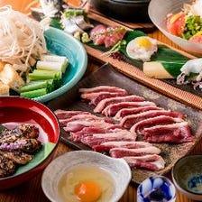 京鴨すき鍋/京鴨焼/京鴨のローストから選べて天ぷら盛り合わせも味わえる  百合コース〈全7品〉