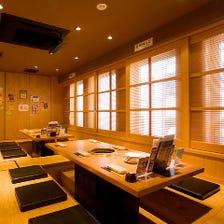 個室完備の全65席落ち着いた和空間
