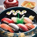 寿司7貫セット(寿司7貫・ネギトロ巻1本・小鉢・茶碗蒸し・みそ汁)
