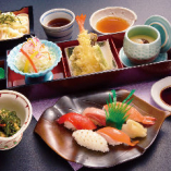 たわら家御膳(寿司5貫・天ぷら・選べる麺・茶碗蒸し・サラダ・小鉢)