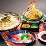 天ざるうどん寿司セット(天ぷら・ざるうどん・寿司3貫)
