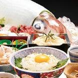 隠岐の白いか丼セット(隠岐の白いか丼・げその唐揚げ・小鉢・選べる麺)