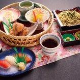 レディース御膳(寿司3貫または選べる小丼・選べる麺・茶碗蒸し・鶏唐揚げ・サラダ・デザート)