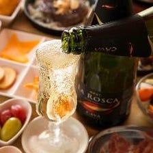 こぼれスパークリングワインで乾杯!