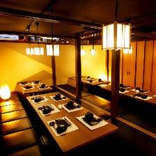 やわらかな照明の趣ある和風個室空間