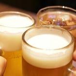 まずは冷たい生ビールで乾杯