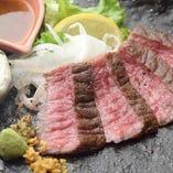 やまぐち和牛「燐(きらめき)」の藁焼きステーキ 萩の塩たたき