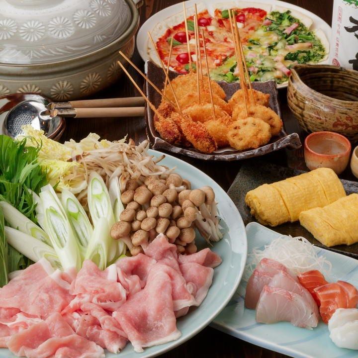 鍋コースではもち豚みぞれ鍋 or 和牛もつ鍋から1種選べます。