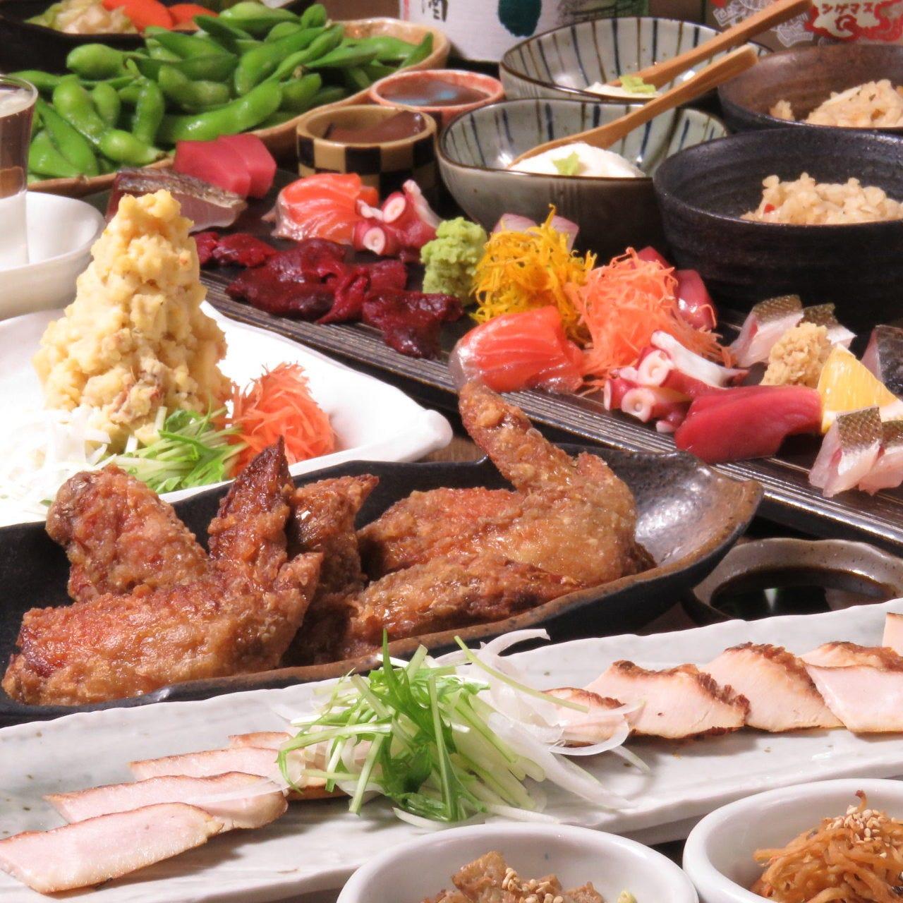 糸島産自家製豚トロ燻製、豪華刺盛り付3500円コース<全10品>