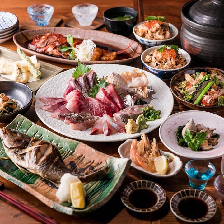 【2H飲み放題】鮮度抜群の旬魚で仕立てる強肴がメイン!『魚トの神堪能コース』全9品