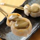 貝柱のカニ味噌焼
