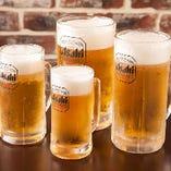 生ビールは4種類のサイズから選べます!たくさん飲まれる方はぜひ特大をどうぞ!!