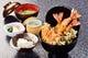 海老天丼。海老3本、白身魚、野菜などボリュームたっぷり。