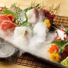 新鮮鮮魚刺身2種&串カツ3種盛りコース3時間飲み放題付き7品4500円⇒3500円