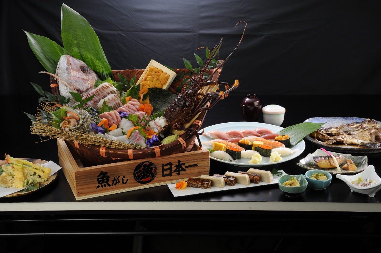 【ぐるなび限定】《日本一》舟盛り、焼き物、天婦羅、上にぎり 飲み放題付き6,500円コース 2名様~
