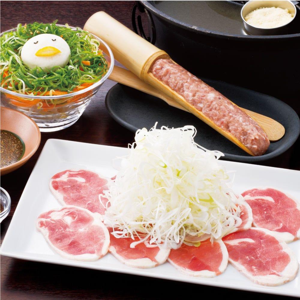 """2種のたれで食べる""""極み鴨だし""""の鴨しゃぶ 肉ノ寿司食べ放題コース"""
