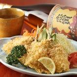 恵比寿茶の一押し御膳、活鯵フライ二匹付きサクサク熱々美味しさ絶品間違い無し。