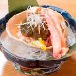 ズワイ蟹の自家製蟹味噌添え