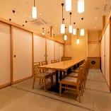 和を基調とした寛ぎのテーブル席完全個室(~18名様/~20名様/~24名様)
