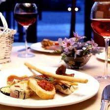 【コース料理AMORE+飲み放題のセット@5000円】着席にてお料理を一皿ずつアテンドいたします