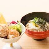 【旬彩 どんたく御膳】外付けの博多華味鳥の唐揚げ、麺料理