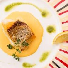 鮮魚の鉄板焼き、雲丹のクリームソース