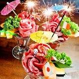 名物【肉パフェ】でサプライズや記念日のお祝いを!