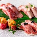 ★ウニ肉、タン、サーロイン、ミスジの握りも! 最高級の贅沢を
