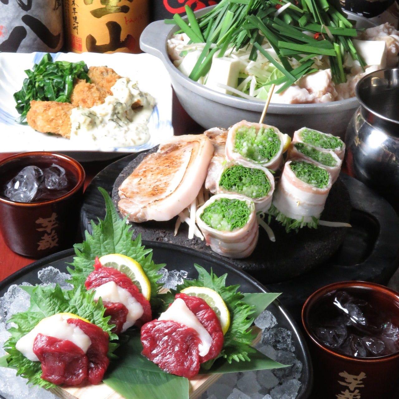 馬刺しや野菜串など九州の逸品