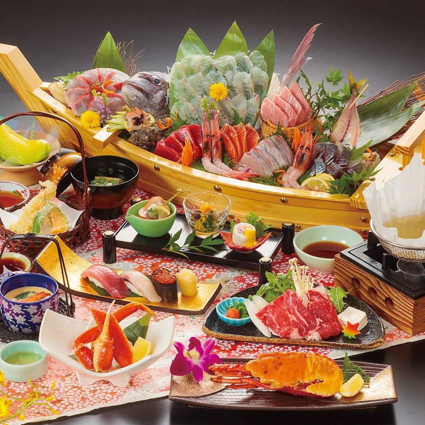 【海鮮会席 黒潮(くろしお)】■海鮮上舟盛り、伊勢海老せんざん焼など、おめでたい席に最適なコース