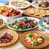 イタリアンやフレンチの技法を生かしてご用意するパーティーメニュー。各種前菜やピザ・パスタ、お肉料理からドルチェまで、華やかにパーティーを彩ります。